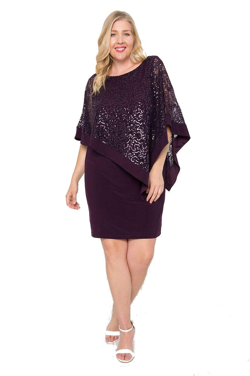 R&M Richards Mother of The Bride Plus Size Poncho Dress - Plum - 14W