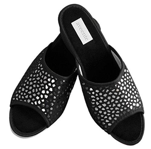 Aveente - Zapatos de Terciopelo para mujer negro / plateado