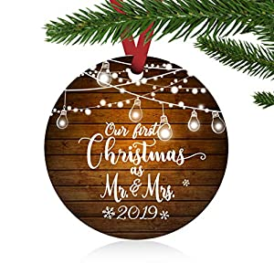"ZUNON First Christmas Ornaments 2019 Our First Christmas as Mr & Mrs Couple Married Wedding Decoration 3"" Ornament 62"