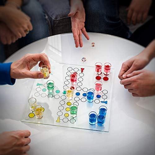 Relaxdays Juego para beber Parchís de cristal con vasos de chupito, color transparente (10010181) , color/modelo surtido: Amazon.es: Juguetes y juegos