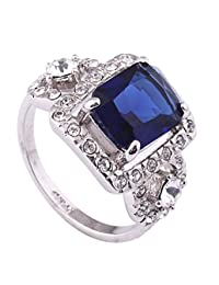 Acefeel White Gold Plated Austrian Drilling Rectangle Sapphire Engagement Ring Valentine's Day Gift R071