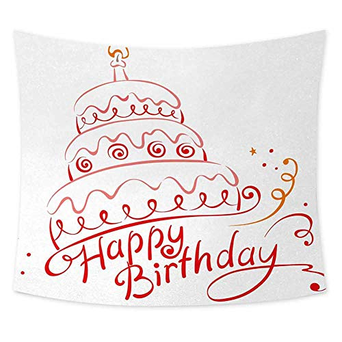 Grateful Dead Birthday Cake (jecycleus Birthday Grateful Dead Tapestry Birthday Cake with Spirals Swirls Curly Ornaments Surprise Party Art Print Room Decor for Teen Girls W91 x L60 Inch Red Yellow)