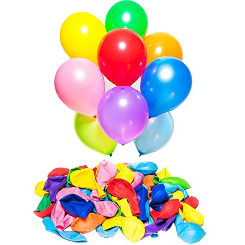 (KISEER Assorted Rainbow Color Party Balloons Bulk 100 Pcs 12 Inch Strong Latex Ballons for Birthday Party Wedding Arch Decoration or Kids Toy)