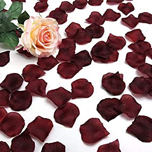 LANYUER 1000 pcs Silk Rose Petals Wedding Party Decorations Flower Favors (Burgundy) 91