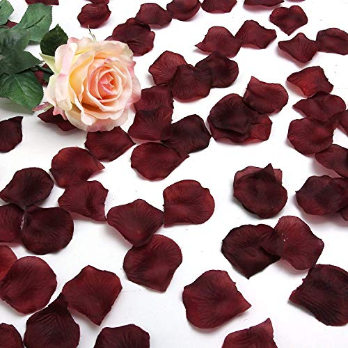 LANYUER 1000 pcs Silk Rose Petals Wedding Party Decorations Flower Favors (Burgundy)