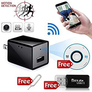 Minicute WIFI Spy Camera USB Wall Charger Hidden Camera Motion Activated Audio Video Recording Nanny Cam Supprt 3G/4G/Wireless Remote Live Video Mini IP Camera (with 32G SD card, Black