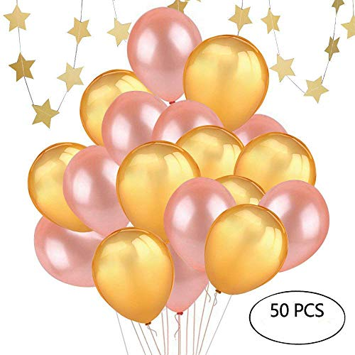 12inch Gold and Rose Gold Balloons, 50 PCS 12