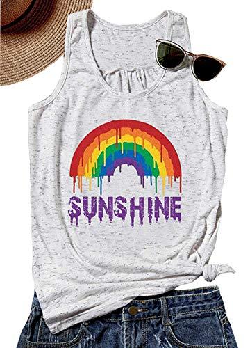 Rainbow Sunshine Tank Top for Women Sleeveless Letter Print Summer Beach T-Shirt Vest Size M (Light Grey)]()