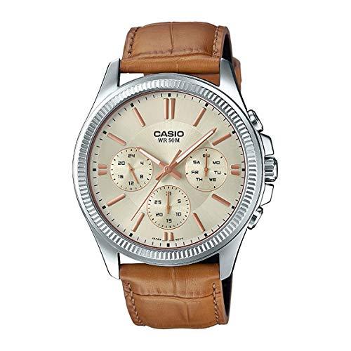 Multifunction Gold Dial (Casio #MTP1375L-9AV Men's Leather Band Fluted Bezel Multifunction Gold Dial Watch)