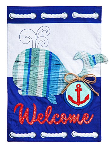 Evergreen Flag Whale Welcome Linen House Flag, 28 x 44 inche