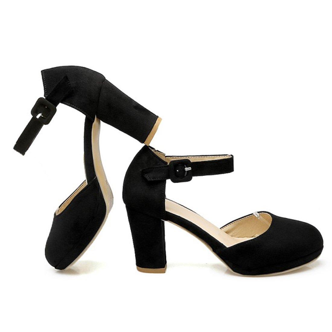 19c783cf3782 Atyche Damen und 9394 Blockabsatz High Schwarz Heels Sandalen mit Schnalle  und Plateau Riemchen Pumps Elegante Schuhe Schwarz 3d3eef9 -  www.couponpro.xyz