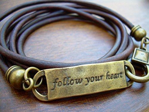 Follow Your Heart Triple Wrap Leather Bracelet, Antique Bronze/Antique Brown, Womens Bracelet, Mens Bracelet, Leather Bracelet, Bracelet, Mens Leather Bracelet, Womens Leather Bracelet ()