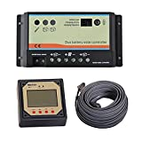 EPsolar Dual Battery Solar Charge Controller 20A + Remote Meter MT-1 12V/24V Auto Work LCD Display For RV Caravans Boats Dual Battery Charging (EPIPDB-COM 20A + MT-1)