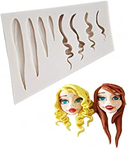Girl Doll Hair Silicone Clay Mold Woman Hair Fondant Mould Cake Decorating Tools Gumpaste Polymer Clay Crafting