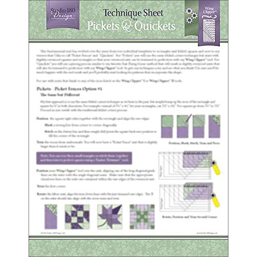 Studio 180 Design Technique Sheet - for Pickets & Quickets Quilting Blocks (Fence Wings Picket)
