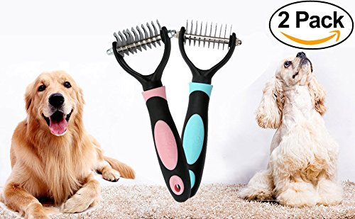 PetHero Dematting Tool for Dogs and Cats – The Best Dog Grooming Comb for Undercoat Removal – Professional Rake Brush for Breeds with Easy Mats and Tangles, 10 Teeth Wide - 2 Pack