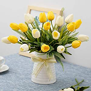 YILIYAJIA Artificial Tulips Flowers with Ceramics Vase Fake Tulip Bridal Bouquets Real Touch Flowers Arrangement for Home Table Wedding Office Decoration(Yellow&Beige) 25
