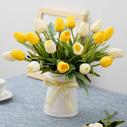 YILIYAJIA Artificial Tulips Flowers with Ceramics Vase Fake Tulip Bridal Bouquets Real Touch Flowers Arrangement for Home Table Wedding Office ()