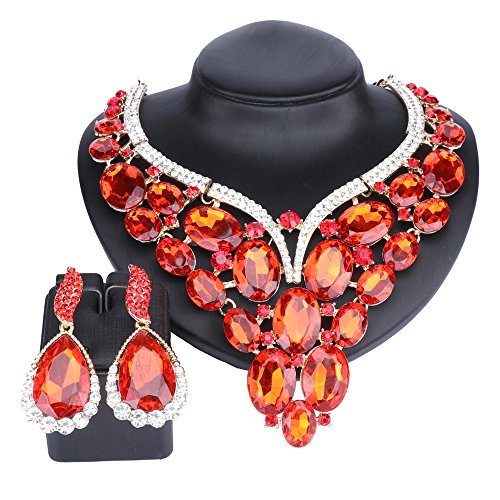 Women Bridal Rhinestone Crystal Statement Necklace Earring Wedding Dress Jewelry Sets