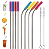 Tker Stainless Steel Straws set of 8, 10.5'' Long Reusable Metal Drinking Straws for 30oz / 20oz Tumblers with 2 Cleaning Brushes& Silicone Tips(4 Straight + 4 Bent)