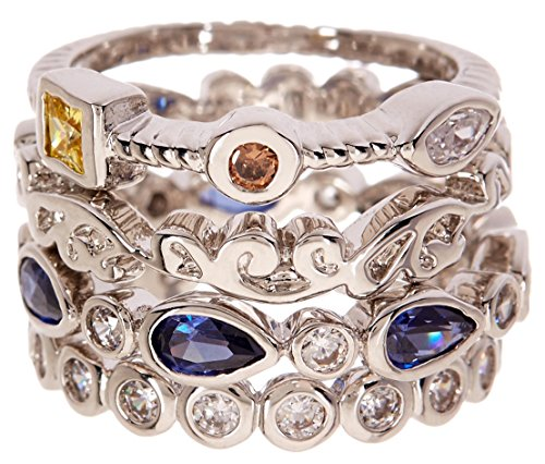CZ Wholesale Gemstone Jewelry Stackable Ring Set (8)