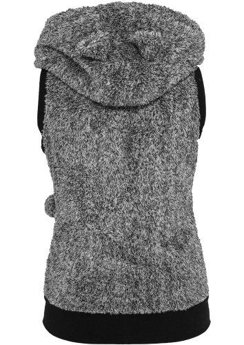 Urban Classics Chaleco de peluche mixto para chicas Chaleco Mujer negro-blanco negro - negro
