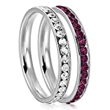 3mm Stainless Steel Eternity Clear & Amethyst Color Crystal Stackable Wedding Band Rings (2 pieces) Set, Size 7