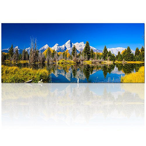 Visual Art Decor Autumn Snake River Oxbow Bend Grand Teton National Park Panorama Picture Canvas Wall Art Wyoming Scenery Framed Prints Artwork for Living Room (01 Grand Teton)