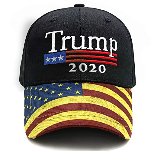 (Trump Black Cap US Flag Keep America Great hat President 2020 Baseball Cap Low Profile Adjustable Unisex Caps Polo Style Outdoor Ball Cap (Trump Black))