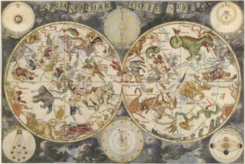 Zodiac Constellation Map Night Sky Poster Print