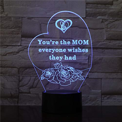 You are the MOM | 3d Optical Illusion Hologram Night Lamp | Led Lampeez for Mom/Lady/Girlfriend/Wife/Daughter/Sister | Premium Present Idea For Her | Remote / Longer / USB Adapter Included