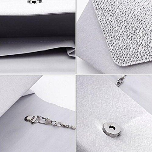 FDelinK Clutch Evening Handbag Flap Silver Diamante Lady Pleated Envelope and Purse Bag Women rwEIFqw