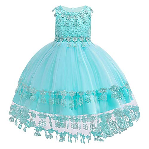 kids Showtime Little Girls Dresses Party Wedding Holiday Girl Dress Summer Special Occasion Prom Pageant Graduation Cotton Gown Flowers Girls Dresses (Tiffany Blue,120)