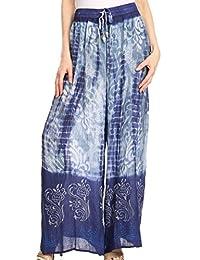 Sakkas Aline Tie-dye Wide-leg Palazzo Pants with Adjustable Waistband