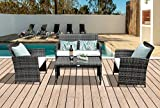 4 Piece Patio Conversation Set, Rattan Sectional Furniture Set with Cream White Seat Cushions, Loveseat and Coffee Glass Table,Outdoor PE Wicker, Gray