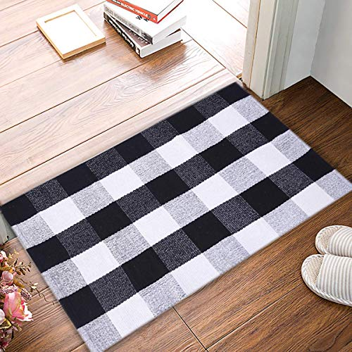 EARTHALL Cotton Buffalo Plaid Rugs Hand-Woven Buffalo Checkered Carpet Washable Kitchen Rugs and Door Mat(Black and White Porch Rugs) (23.6