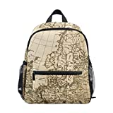 Old World Map School Backpack Canvas Rucksack Large Capacity Satchel Casual Travel Daypack