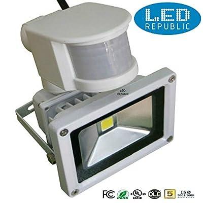 Led Republic PIR Motion Sensor Control 10W LED Flood Lights, Cool White LED Security Light, Waterproof LED Floodlight, Wall Washer Light