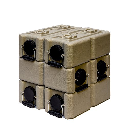 (WaterBrick Tan Water Storage Container (6 pack) 3.5 Gallon BPA Free Portable and Stackable)