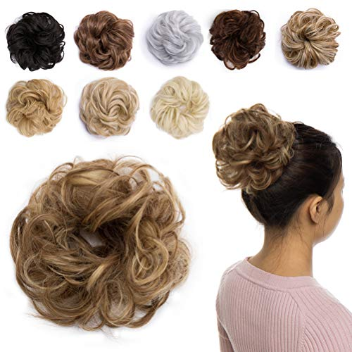 Updo Hair Extensions Synthetic Hair Bun Wavy Donut Bride Scrunchy Messy Hairpieces 2 Pieces 35g/pcs Ginger Brown Mix Golden Blonde-Medium