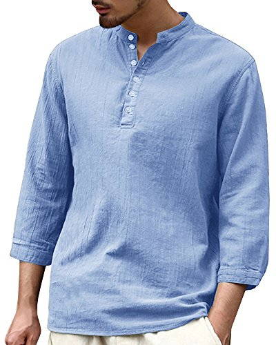 PASLTER Mens V Neck Cotton Linen Hippie Shirts Long Sleeve Casual Henley T-Shirt Top (X-Large, A-Blue) by PASLTER (Image #2)
