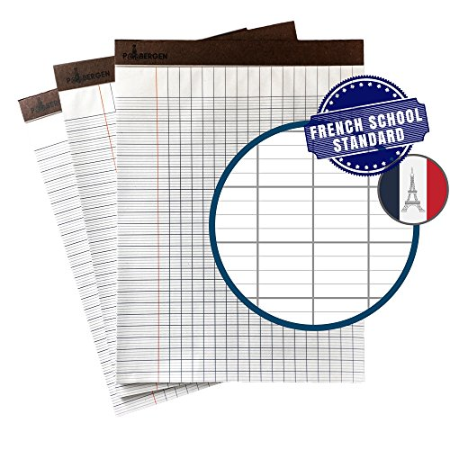 P. Bergen French Ruled Paper Writing Pad - Seyes Grid for Improved Cursive Penmanship - LARGER 10 x 10 mm grids - 50 Letter Practice Sheets per pad (3 Pads)