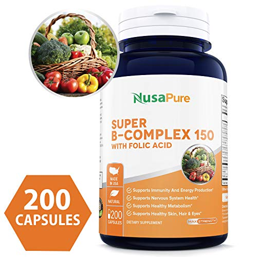 B-Complex 150 (Non-GMO, Soy Free & Gluten Free) 200 Capsules - Aids Metabolism and Antioxidant Support - with Choline, Inositol, Paba & Folic Acid - 100% Money Back - Capsules Choline 100