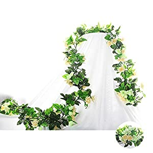 Flower Garland Artificial Fake Flowers Rose Vine Flowers Plants Artificial Flower Hanging Rose Leaf Vine for Home Hotel Office Wedding Party Garden Craft Art Décor Pack of 3 (Champagne) 88