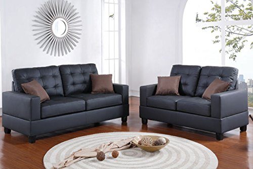 Poundex F7855 Bobkona Aria Faux Leather 2 Piece Sofa and Loveseat Set, Black (Loveseat Set Poundex)