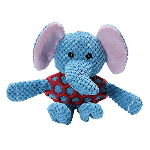 EETOYS Squeaky Plush Dog Toy Durable Small Dog Toys Low Stuffing Interactive Dog Plush Toys Squaker Puppy Chew Toys Reduces Boredom with Chew Guard (Small, Blue Elephant with Squeaker Netted Vest)