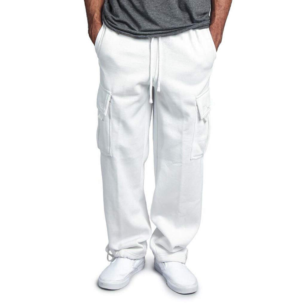 WUAI Sweatpants for Men, Casual Outdoors Slim Fit Joggers Running Sportwear Athletic Pants Trousers(White,US Size S = Tag M)
