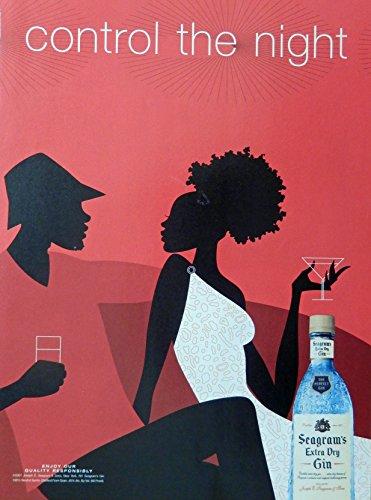 (Seagram's Extra dry Gin, Vintage Print Ad. Color Illustration (control the night) Original Magazine Art)