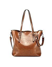 Zicac Ladies Women Vintage Waterproof Oil Wax Synthetic Leather Large Capacity Tote Shoulder Bag Casual Fashion Handbag Shopper Cross Body Messenger (Brown)