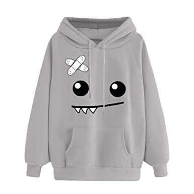 FimKaul Autumn Winter Thicker Hoodie Womens Casual Loose Cute Monster Emoticon Warm Sweatshirt Hooded Pockets(